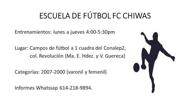 ÚNETE A LA ESCUELA DE FÚTBOL FC CHIWAS