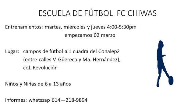 ESCUELA DE FÚTBOL FC CHIWAS INVITA A NIÑOS Y NIÑAS
